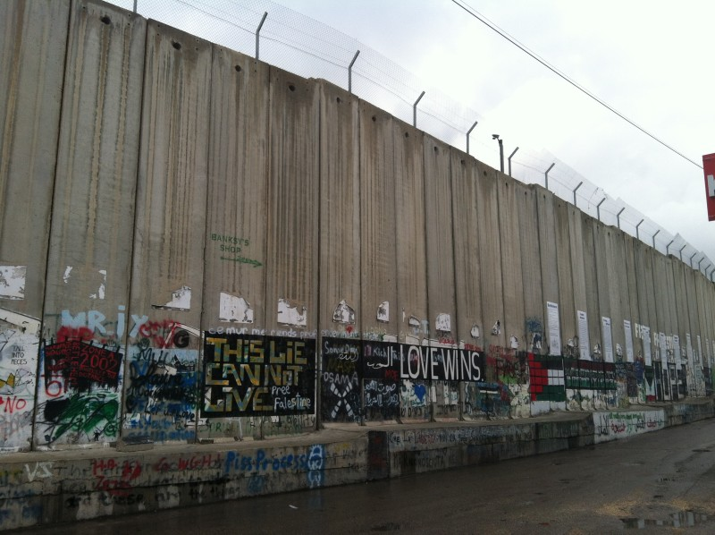 Art on the separation wall from the Palestinian side
